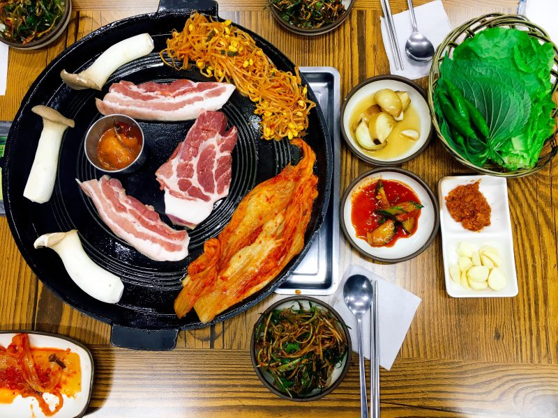 "A Foodie's Guide: Korean BBQ for Dummies - A Korean BBQ classic is samgyupsal, translates into ""three-layered meat,"" referring to the marbling of the pork belly. 
