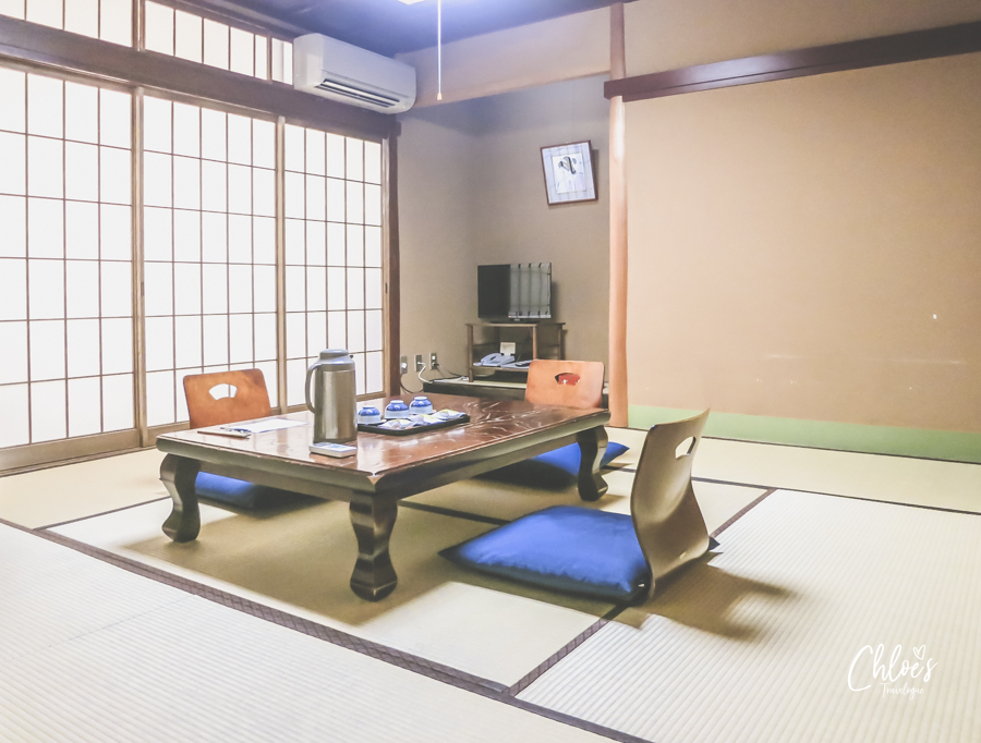 All you need to know about ryokans in Japan | Ryokan Etiquette | Zen furniture - Low table & chairs with no legs | #ryokan #onsen #JapaneseCulture #JapaneseEtiquette | chloestravelogue.com