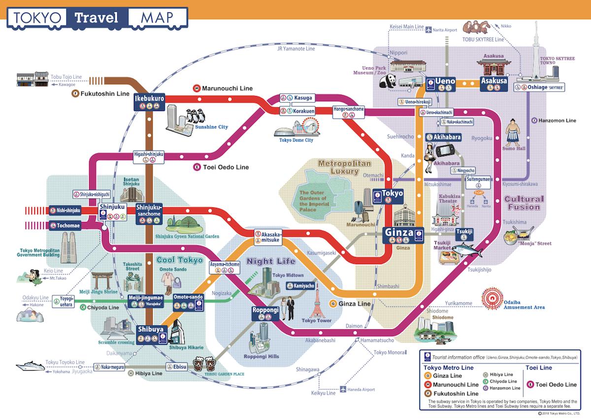 Simplified Tokyo Metro Map